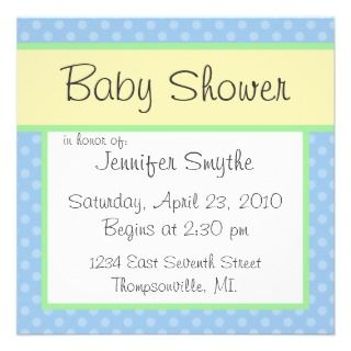 Blue Polka Dotty Baby Shower Invitation