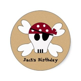 KRW Cute Pirate Skull and Crossbone Birthday Stickers