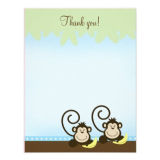 Silly Twin Monkeys (Blue) 4x5 Flat Thank you note Custom Invites