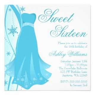 Blue Swirl Dress Winter Wonderland Sweet 16 Announcements