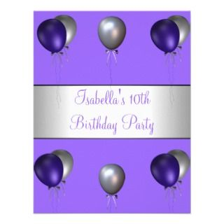 Party Purple & Silver Balloons Custom Invitation
