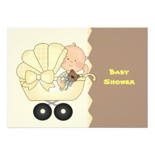 Yellow Baby Carriage Shower Invitation