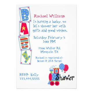 Sweet Colorful Baby Boy Shower Invitation