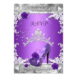 RSVP Reply Response Birthday Party Purple Silver Custom Announcements
