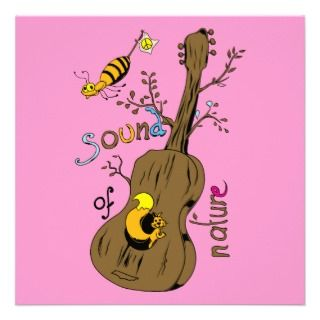 Guitar Tree Sound of Nature Cartoon   Groovy Man Custom Announcements