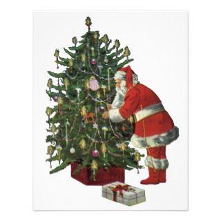 Santa Claus Lighting Candles on the Christmas Tree Custom Invite