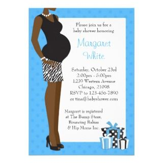 African American Baby Shower Blue with Zebra Personalized Invite
