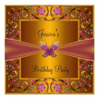 Gold Pink Butterfly Birthday Party Custom Invitations