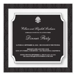 Elegant Damask Dinner Party Invitation (white)