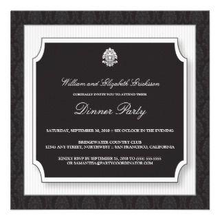 Elegant Damask Dinner Party Invitation (white)