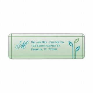 Blue and Green Leaf Wedding Return Address Label
