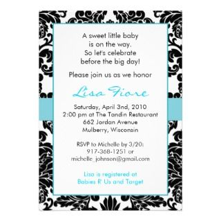 Elegant Floral Blue Damask Baby Shower Invitations