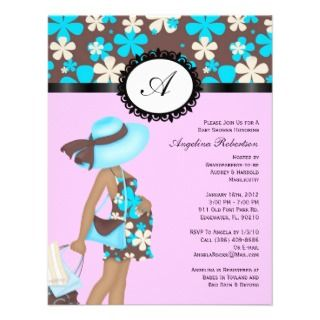 Baby Boy or girl Blue & Pink Cute Shower Flowers Announcement