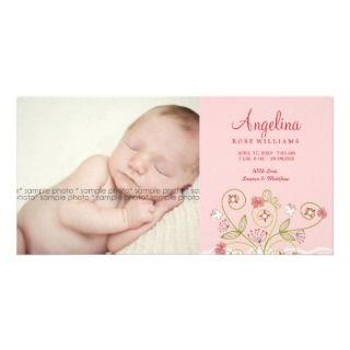 Whimsical Sweet Pink Blooms Girl Baby Announcement Photo Card Template