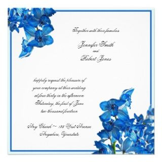 Blue Cymbidium Boat Orchid Wedding Invitation