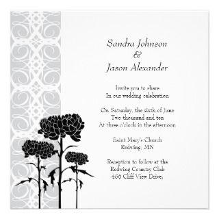 Invitación de plata del boda del crisantemo de