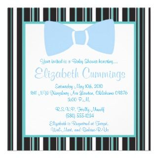 Blue Bow tie Baby Shower invite cute fun simple