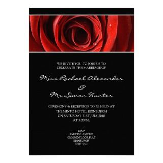 Beautiful Red Rose Wedding Invitiation  Black Announcement
