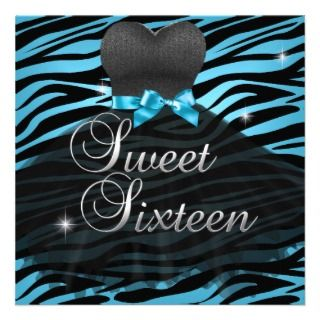 Sweet Sixteen Sweet 16 Blue Black Zebra Dress Announcement