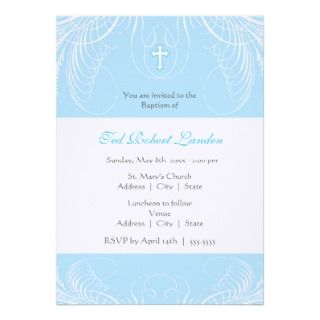 Elegant Baby Boy Baptism Invitation
