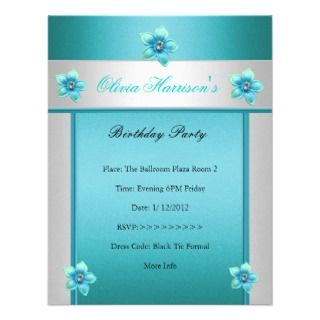 Party Teal Blue White Floral Personalized Invitation