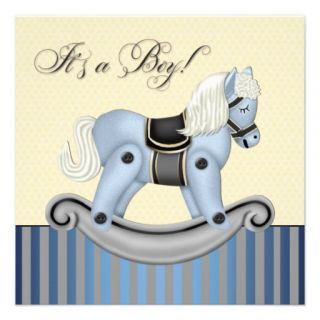 Black and Blue Rocking Horse Baby Shower Personalized Announcement
