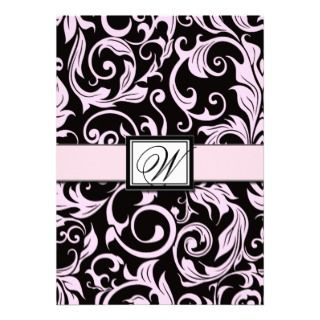 Black and Light Pink Damask Wedding Invitations