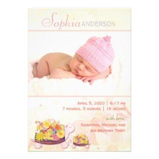 Invitaciones del nacimiento de la foto para la niñ invitación