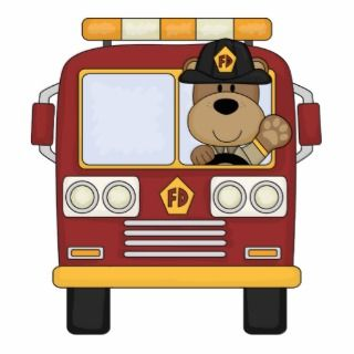 Red Fire Truck Bear Photo Cutout