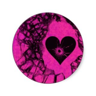 Shattered Broken Heart Gothic Stickers