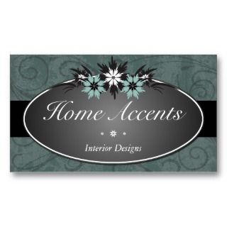 Interior Decorating Teal Floral Business Card