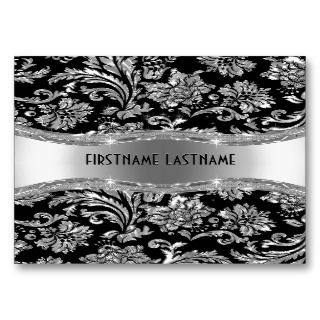 Black & Metallic Silver Vintage Damasks Business Cards