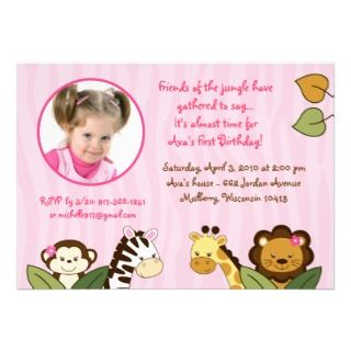 Safari Girl Monkey Baby Shower Favor Gift Tags Business Card Templates