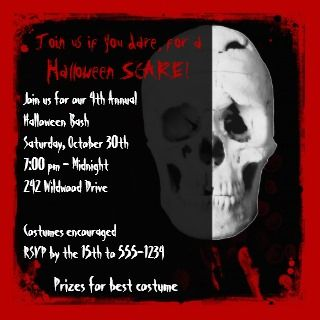 Bloody Skull Halloween Party Invitation invitation