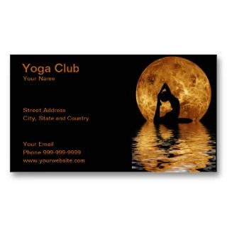 yoga club business card with woman doing yoga in front of moon with