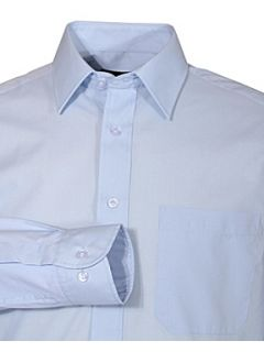 Double TWO Classic plain long sleeve shirt Light Blue