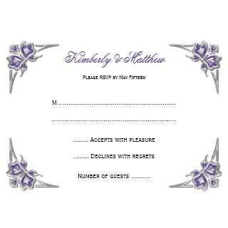 Purple Silver Butterflies Embellishment Wedding Custom Announcements