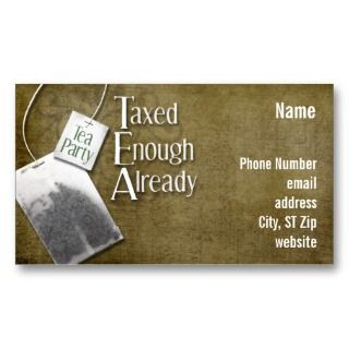 Tea Party Business Card with tea bag