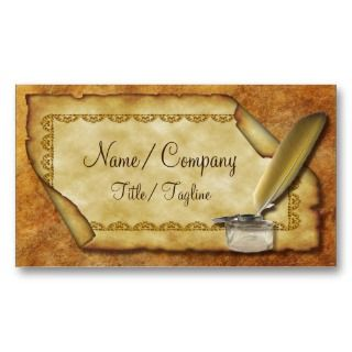 Quill Pen and Parchment Business Card