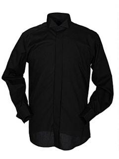 Double TWO Plain Wing Collar Dress Shirt Black