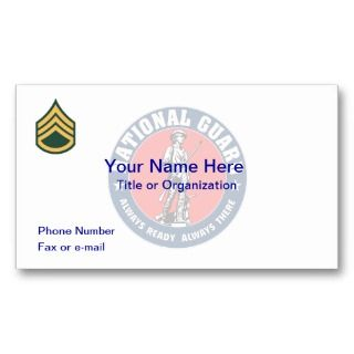 National Guard Staff Sergeant Business Card