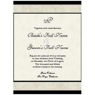Tan n Cream Red Tulip Damask Wedding Invite