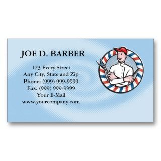 Barber Comb and Scissors Cartoon Business Card