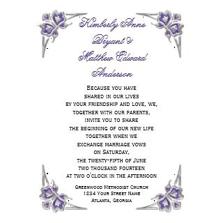 Purple Silver Butterflies Embellishment RSVP Personalized Invite