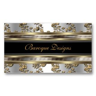 Damask Silver Gold Look Metal Black Business Cards