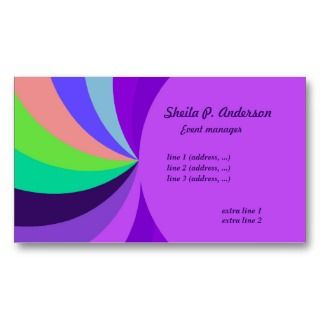 Rainbow Swirls and bright purple Business Card