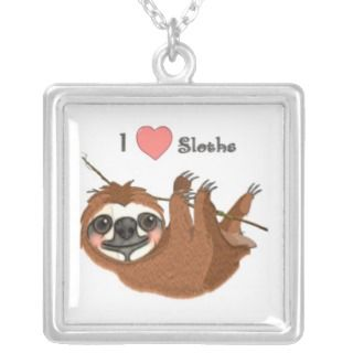 Heart Sloths Baby Animal Necklace