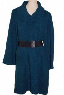 New Karen Scott Marled Knit Cowl Neck Sweater Tunic Dress Teal Size M