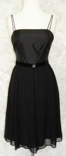 Ann Taylor Black Silk Dress 4P Velvet Waist Jeweled Evening Cocktail