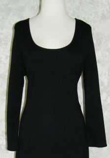 Sweater Dress on Ann Taylor Long Black Wool Knit Sweater Dress 16 Stretch 3 4 Sleeves